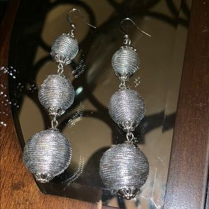 Silver and Chrome Drop Earrings